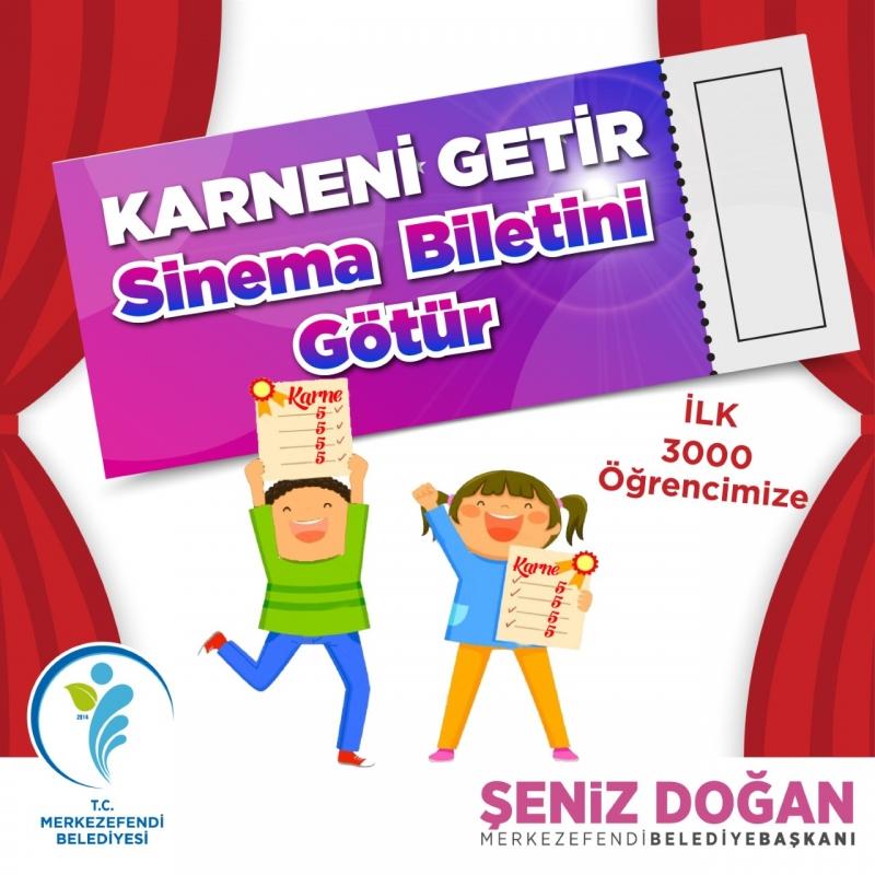 Ortaokul Öğrencilerinin  Sinema Biletleri Başkan Doğan'dan