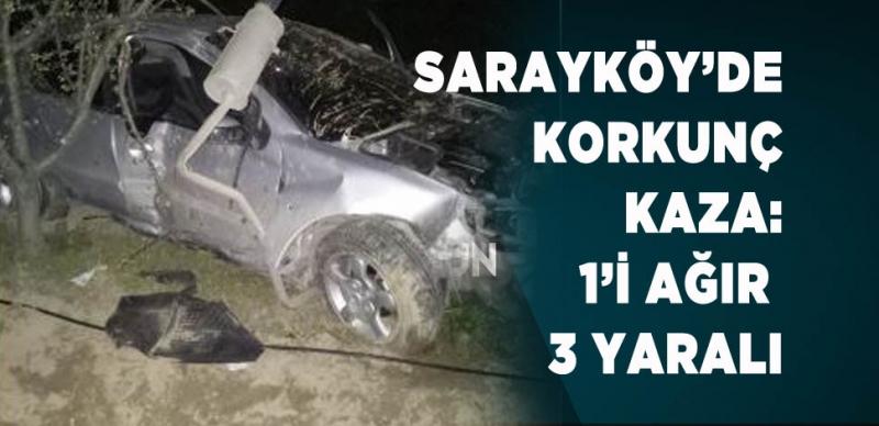 SARAYKÖY'DE OTOMOBİL ŞARAMPOLE UÇTU