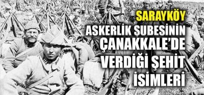 SARAYKÖY ASKERLİK ŞUBESİNİN 1915 ŞEHİTLERİNİN İSİMLERİ
